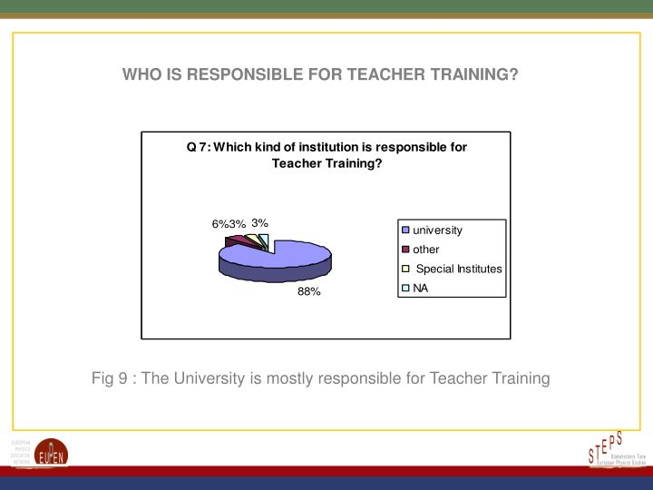 WHO IS RESPONSIBLE FOR TEACHER TRAINING?