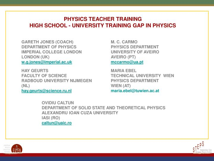 PHYSICS TEACHER TRAINING