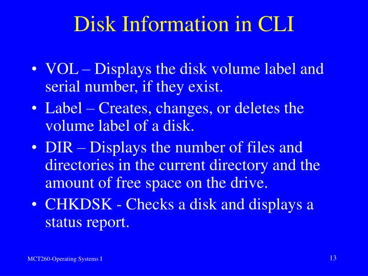 Disk Information in CLI