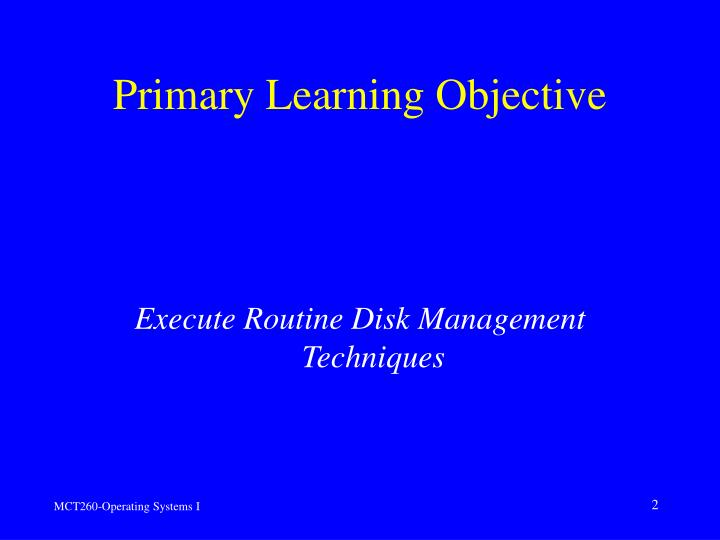 Primary Learning Objective