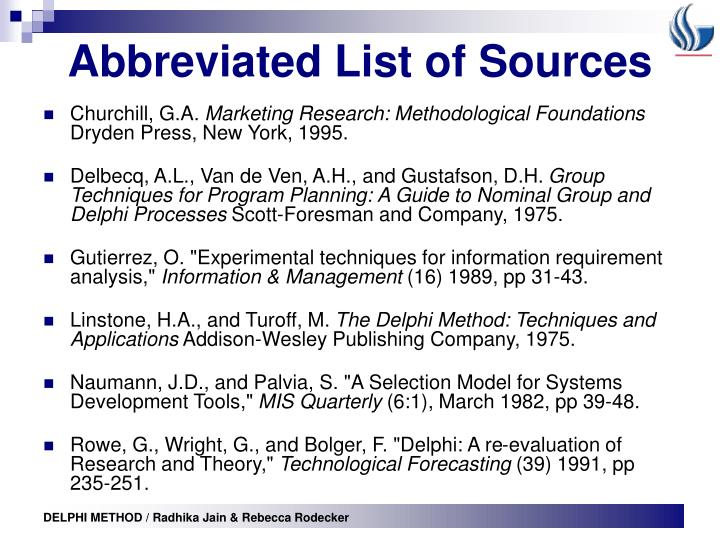 Abbreviated List of Sources