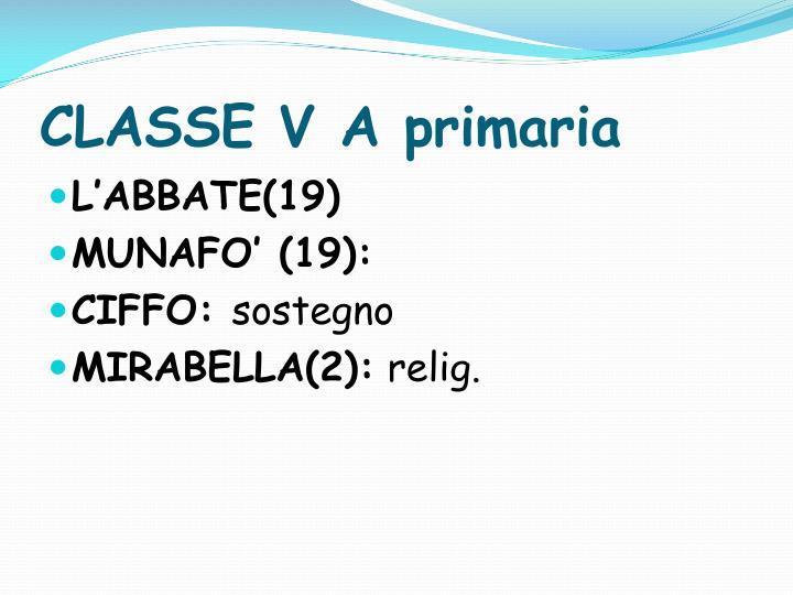 CLASSE V A primaria