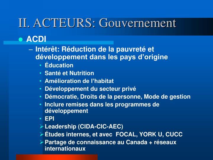 II. ACTEURS:
