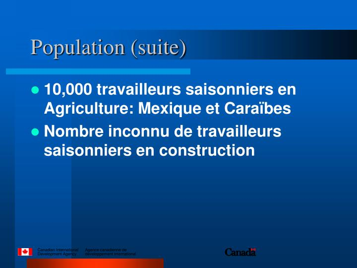 Population (suite)