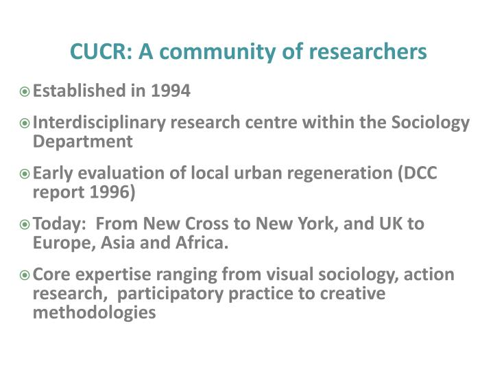 CUCR: A community of researchers