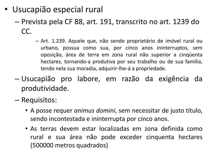 Usucapião especial rural