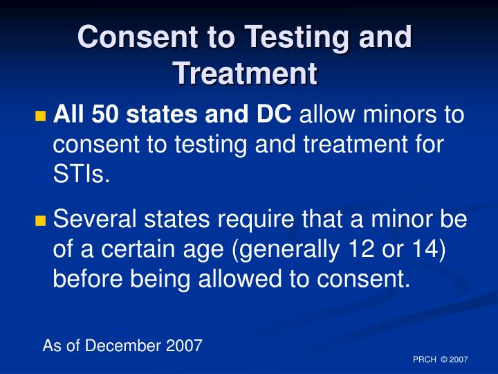 Consent to Testing and Treatment