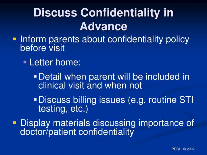 Discuss Confidentiality in Advance