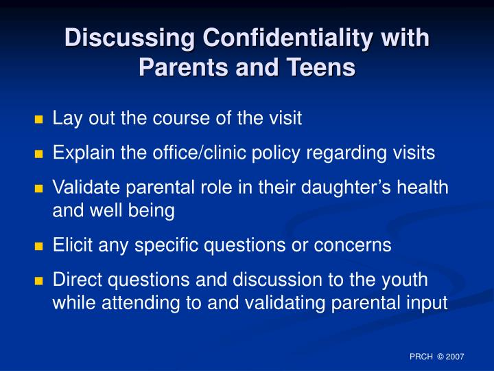 Discussing Confidentiality with Parents and Teens