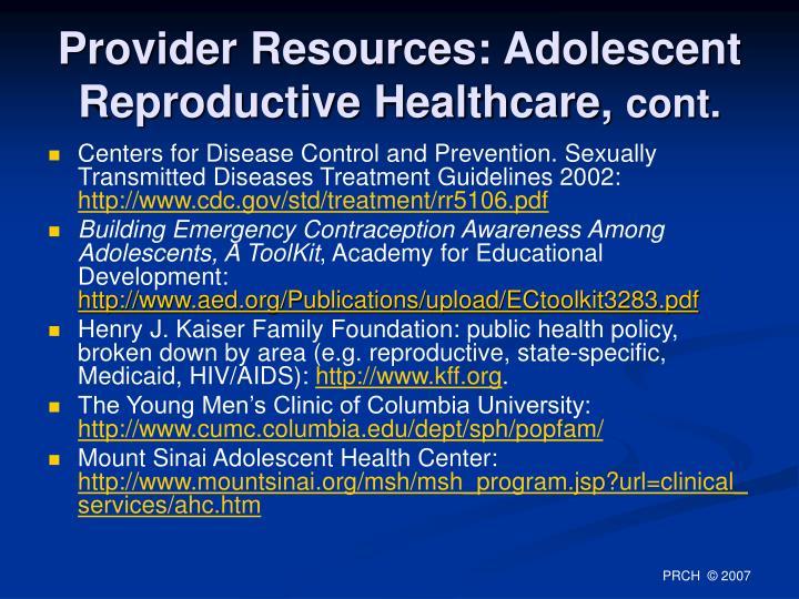 Provider Resources: Adolescent Reproductive Healthcare,