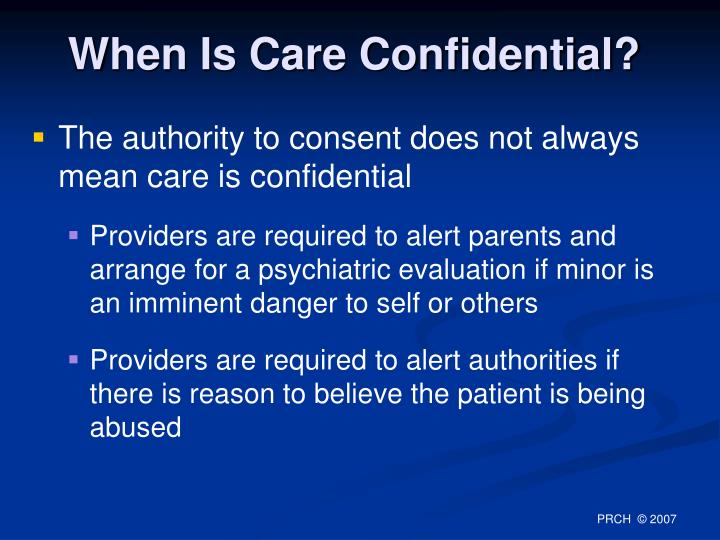 When Is Care Confidential?