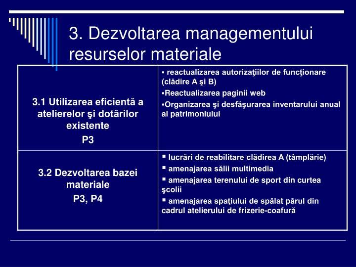 3. Dezvoltarea managementului resurselor materiale