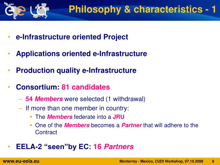 Philosophy & characteristics - 1