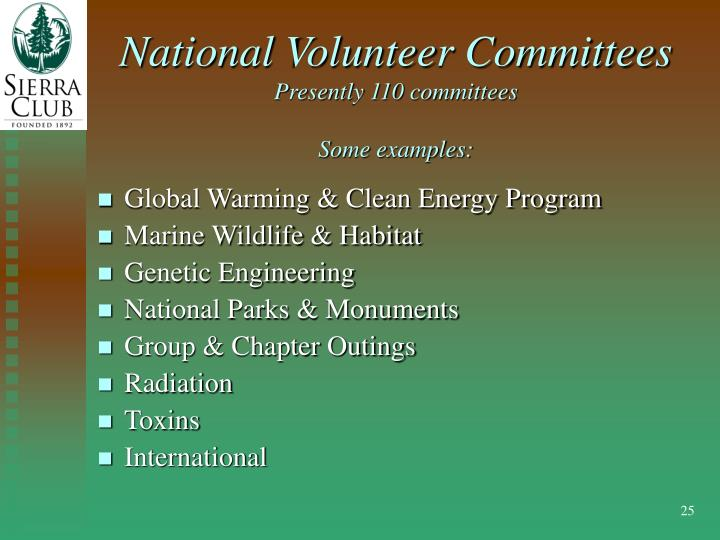 National Volunteer Committees