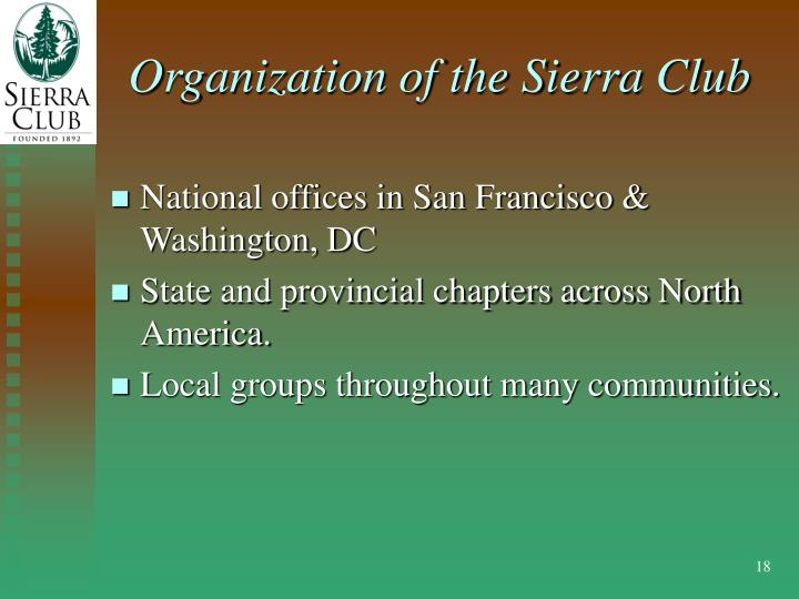 Organization of the Sierra Club