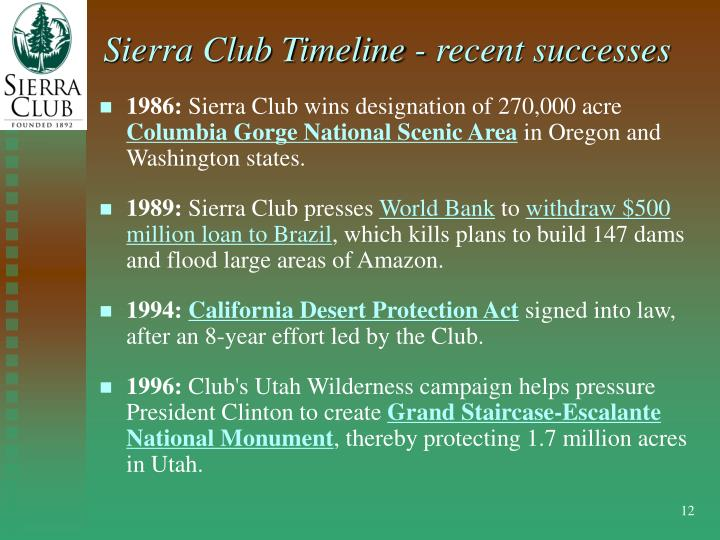 Sierra Club Timeline - recent successes