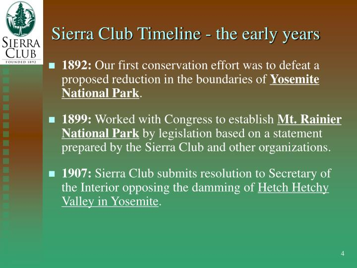 Sierra Club Timeline - the early years