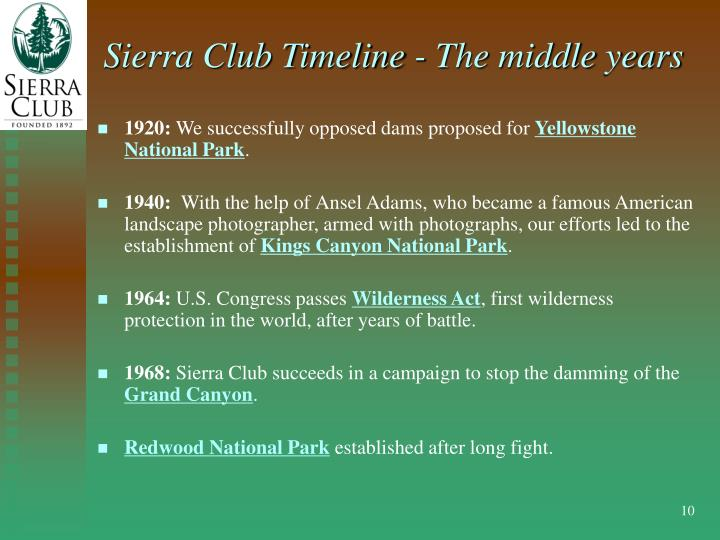 Sierra Club Timeline - The middle years