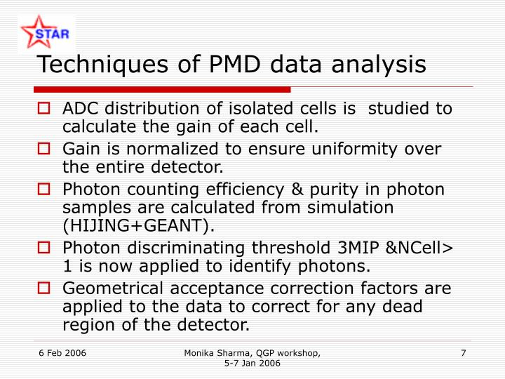 Techniques of PMD data analysis