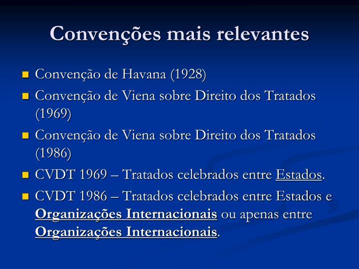 Convenções mais relevantes