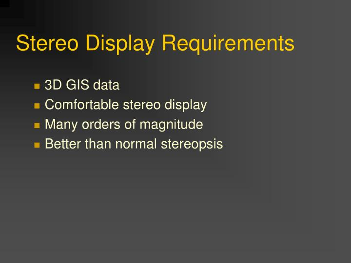 Stereo Display Requirements