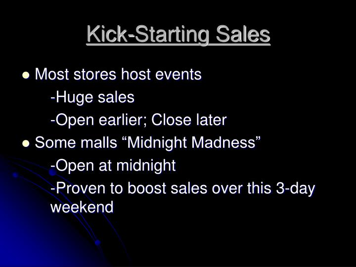 Kick-Starting Sales