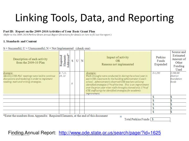 Linking Tools, Data, and Reporting