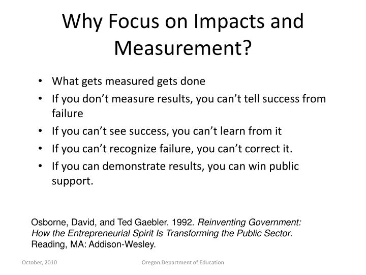 Why Focus on Impacts and Measurement?