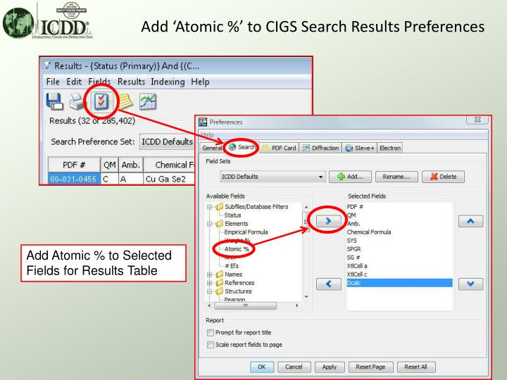 Add 'Atomic %' to CIGS Search Results Preferences