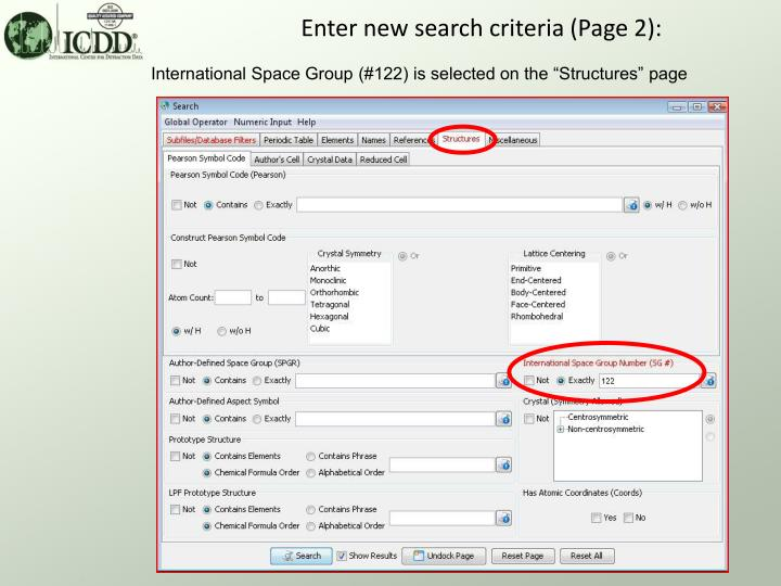 Enter new search criteria (Page 2):