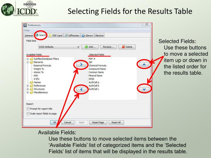 Selecting Fields for the Results Table