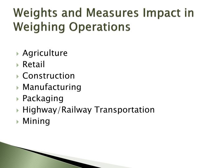 Weights and Measures Impact in Weighing Operations