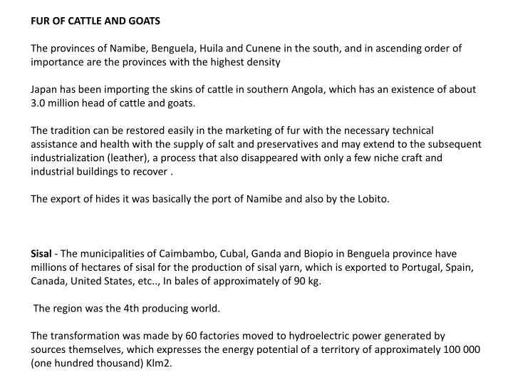 FUR OF CATTLE AND GOATS