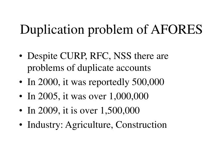 Duplication problem of AFORES