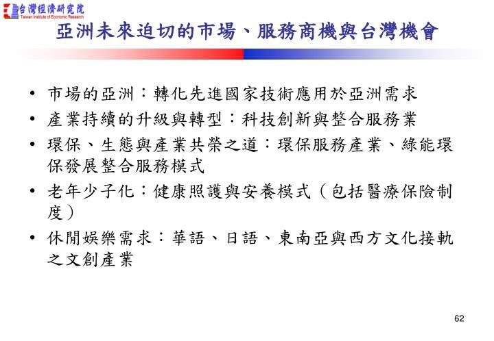 亞洲未來迫切的市場、服務商機與台灣機會