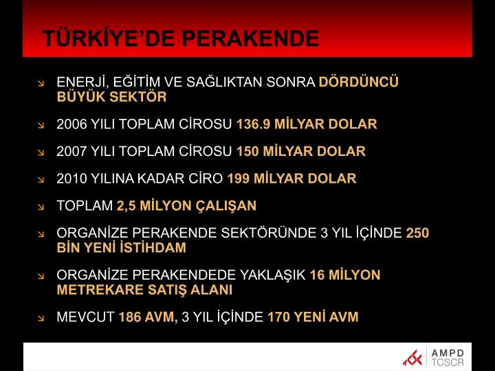 TÜRKİYE'DE PERAKENDE