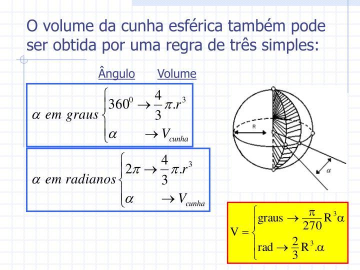 O volume da cunha esférica também pode ser obtida por uma regra de três simples: