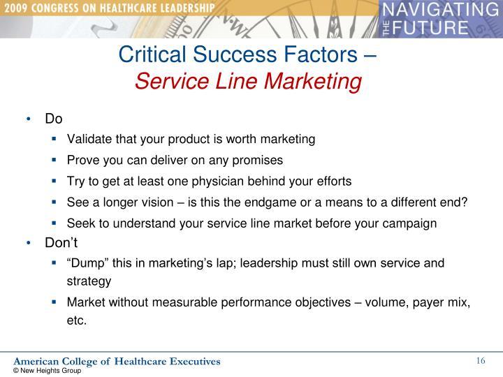Critical Success Factors –