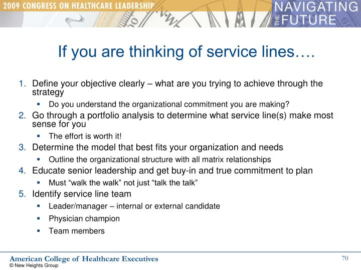 If you are thinking of service lines….