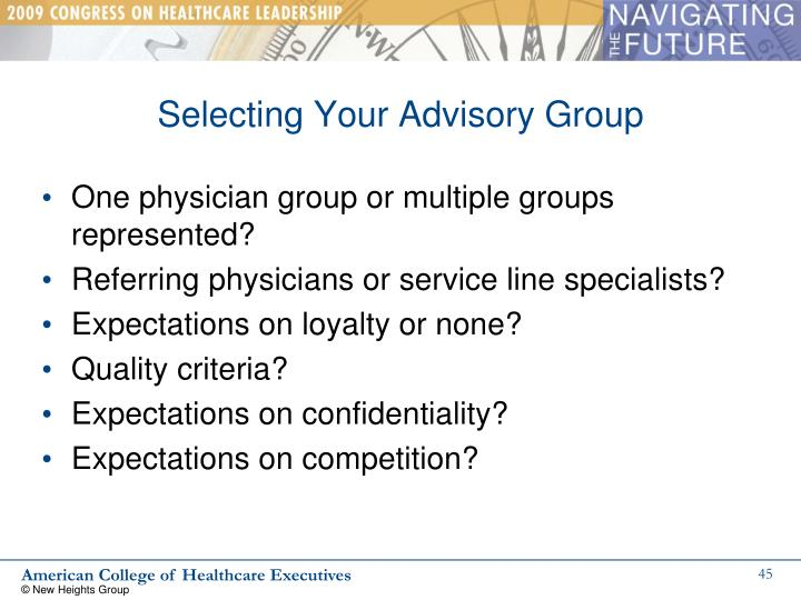 Selecting Your Advisory Group