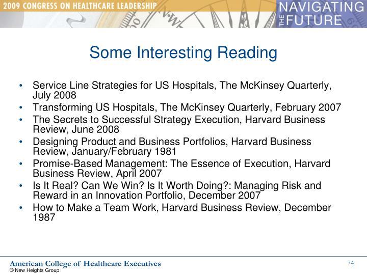 Some Interesting Reading