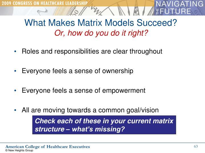 What Makes Matrix Models Succeed?