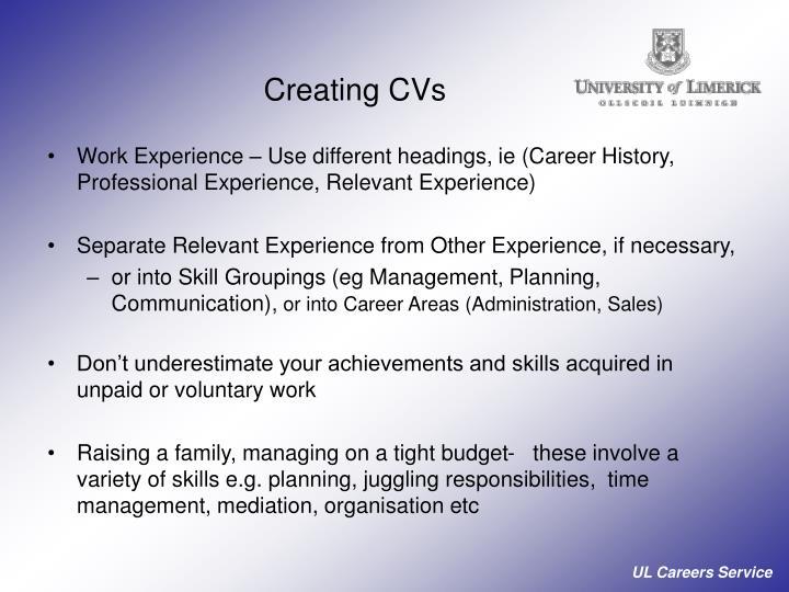 Creating CVs