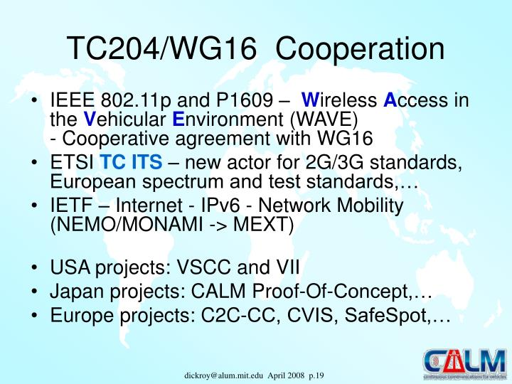 TC204/WG16  Cooperation