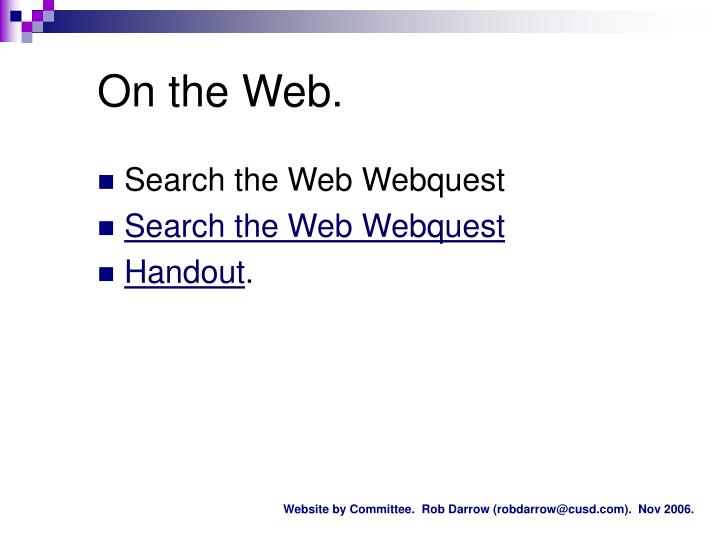 On the Web.