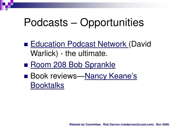Podcasts – Opportunities