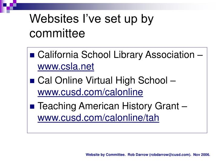 Websites I've set up by committee