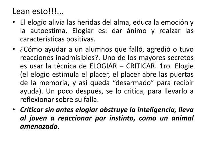 Lean esto!!!...