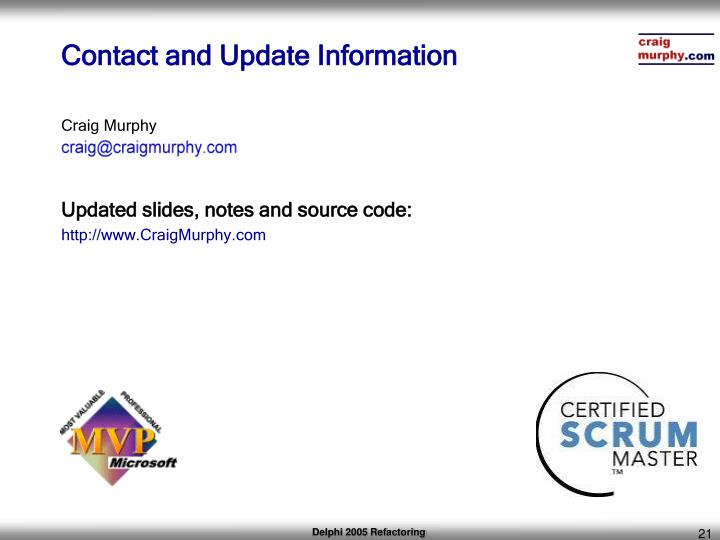 Contact and Update Information