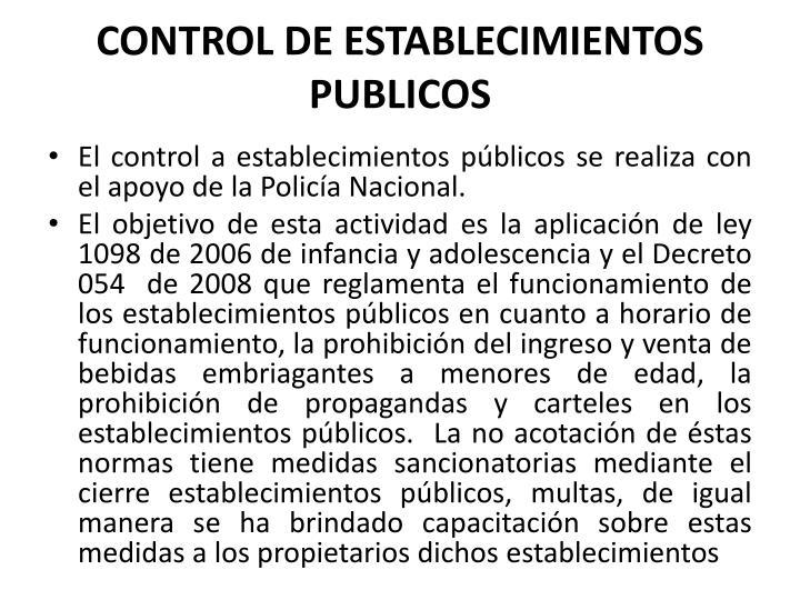 CONTROL DE ESTABLECIMIENTOS PUBLICOS